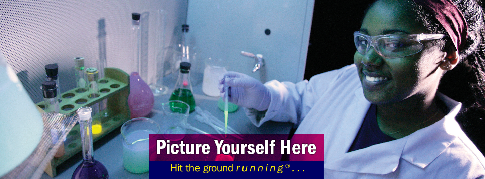 Female student under UV light. Picture Yourself Here, Hit the ground running®...
