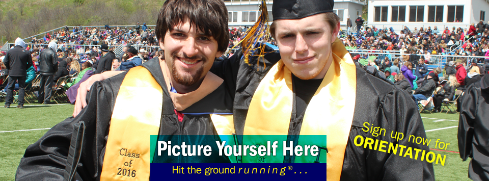 2 male pose for a photo at graduation. Sign up for Orientation. Picture Yourself Here, Hit the ground running.