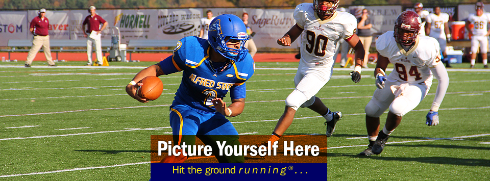 Action shot from from a home football game. Picture yourself here, hit the ground running®...