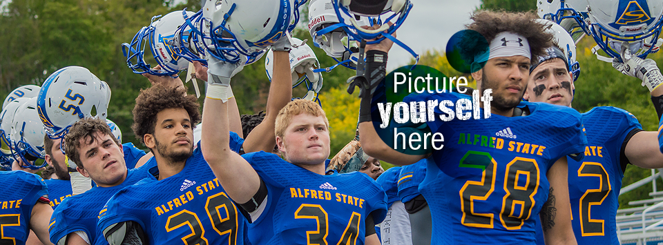 Picture yourself here. Image of the football team with helmets held high.