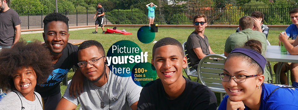 Picture yourself here. 100+ Clubs and Organizations. Image of students enjoying the green space on campus.