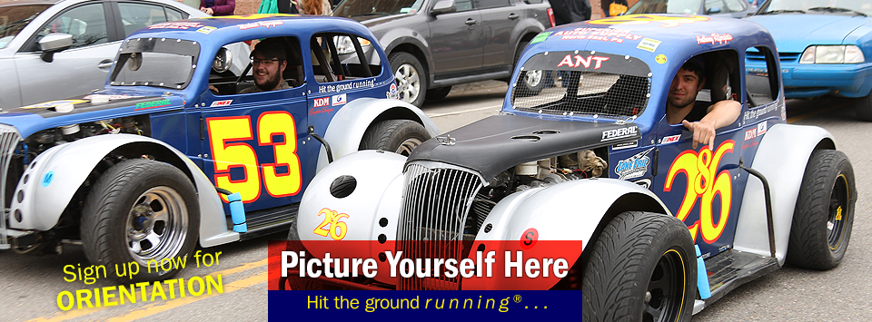 Motorsports students drive their vehicles in the Hot Dog Day parade. Picture Yourself Here, Hit the ground running. #AlfredState