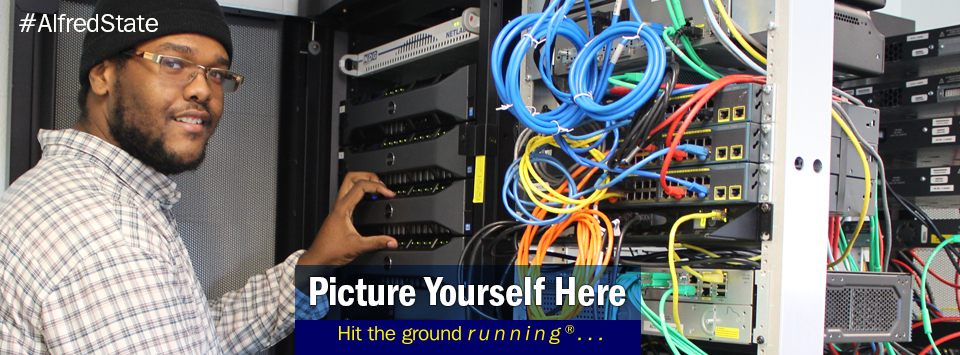 African American male working on network servers. Picture Yourself Here, Hit the ground running. #AlfredState