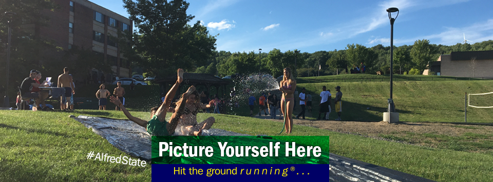 Students on a home made slip-n-slide enjoying the summer weather. Picture Yourself Here, Hit the ground running®...