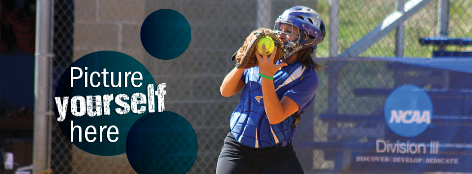 Picture yourself here. Image of softball catcher in action