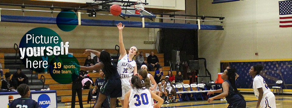 Picture yourself here. 19 sports. One Team.  Image of women's basketball team action shot at tip off.