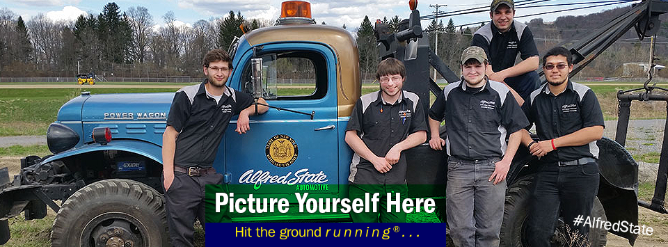 The Great Race, Alfred State team came away with a third-place posed with its 1953 Dodge Power Wagon tow truck. Picture Yourself Here, Hit the ground running.#AlfredState