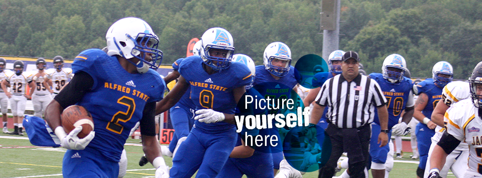 Picture yourself here. Image of football team in action.