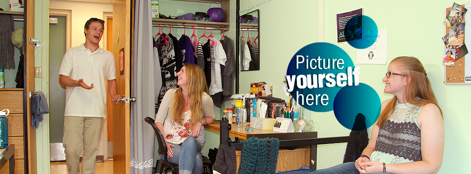 Picture yourself here. Image of students in a dorm room.