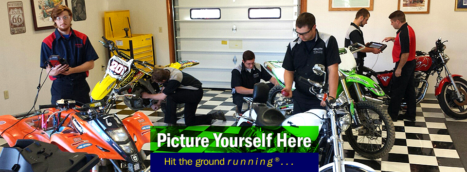 Group of students working on ATVs, Dirt Bikes, and Motorcycles. Picture yourself here, Hit the ground running®...