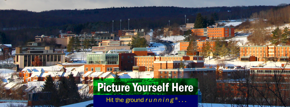 View of campus with snow. Picture Yourself Here, Hit the ground running®...