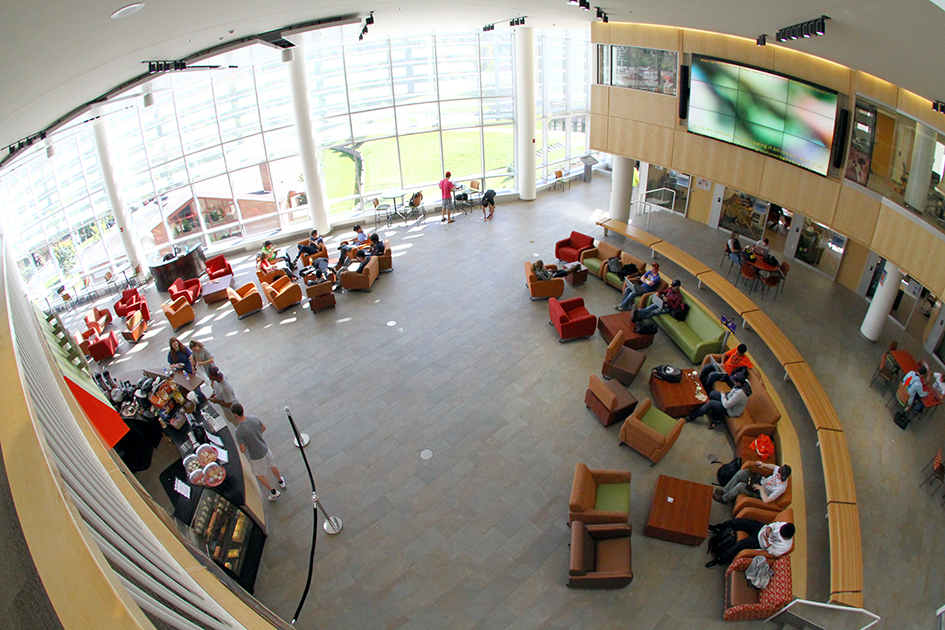 view looking down in Student Leadership Center, students in chairs