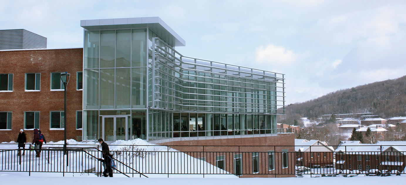 winter view of Student Leadership Center with snow on the ground