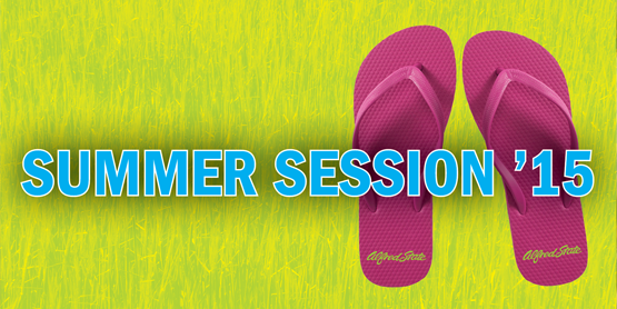 Summer Session '15 words over pink flip flops on grass.
