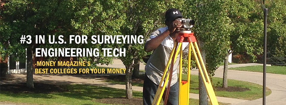 #3 in U.S. for Surveying Engineering Tech - Money Magazine's Best Colleges for your Money. Image of male student outdoors looking through surveyors equipment.