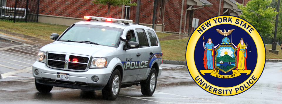 An image of our police car with the New York State University Police seal over the top.
