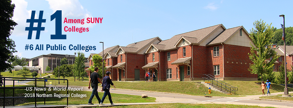 #1 Among SUNY Colleges. #6 All Public Colleges - US News & World Report, 2018 Northern Regional Colleges. Image of students walking on campus near the Townhouses.