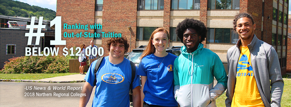 #1 ranking with Out-of-State Tuition Below $12,000 - US News & World Report, 2018 Northern Regional Colleges. Image of 4 students smiling at camera with MacKenzie North in background.