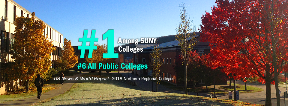 #1 Among SUNY Colleges. #6 All Public Colleges - US News & World Report, 2018 Northern Regional Colleges. Image of fall foliage on campus.