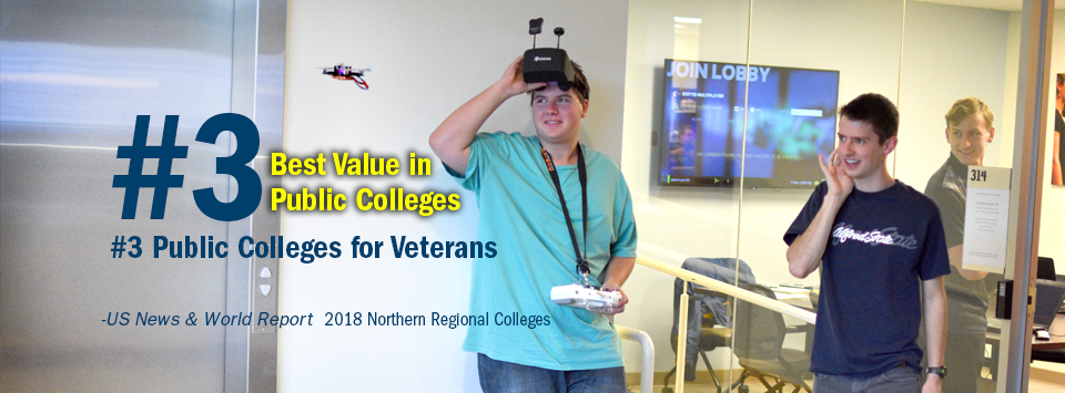 #3 Best Value in Public Colleges. #3 Public Colleges for Veterans. - US News & World Report, 2018 Northern Regional Colleges. Image of students in the RC Club playing with drones.