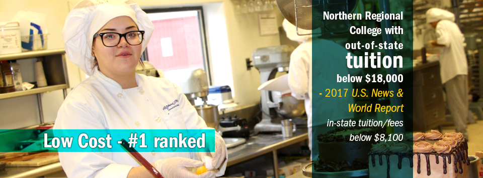 Photo of female culinary student cracking egg in kitchen. Low Cost - #1 ranked Northern Regional College with out-of-state tuition below $18,000 by 2017 US News & World Report. In-state tuition/fees below $8,100