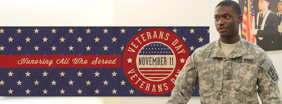 Honoring All Who Served. Veterans Day Nov. 11. Image of man in army uniform.