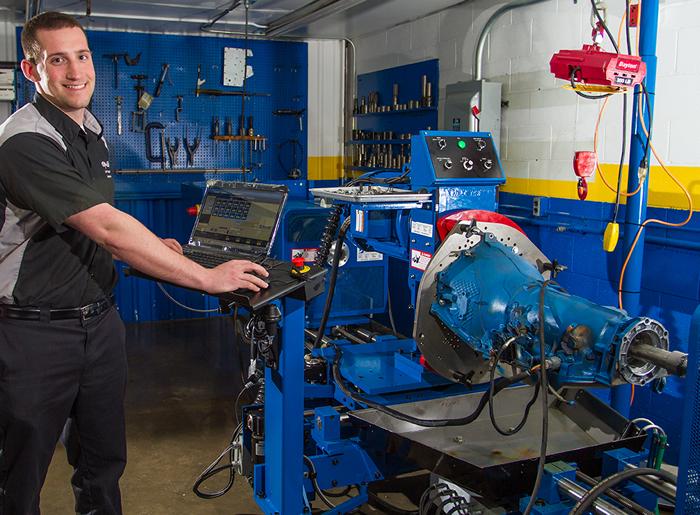 Zach Diangelo in the automotive lab