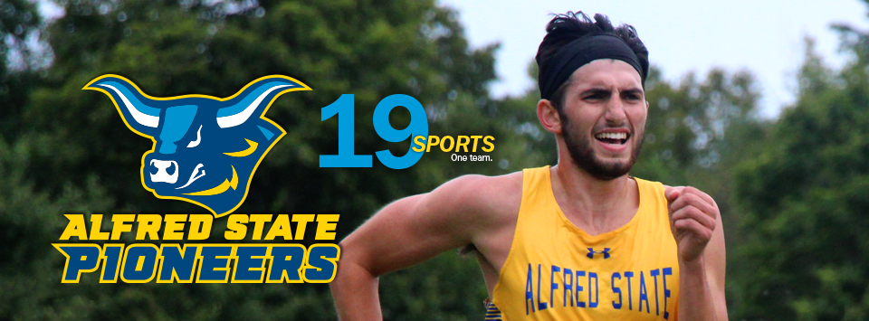 Alfred State Pioneers. image of ox head mascot. 19 sports. One Team. Photo of male on cross country team running.