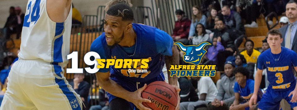 Alfred State Pioneers.  image of ox head mascot. 19 sports. One Team. Photo of men's basketball team in action.
