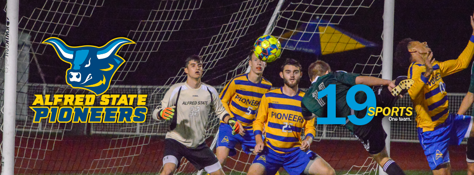 Alfred State Pioneers. image of ox head mascot. 19 sports. One Team. Photo of men's soccer players defending the goal.