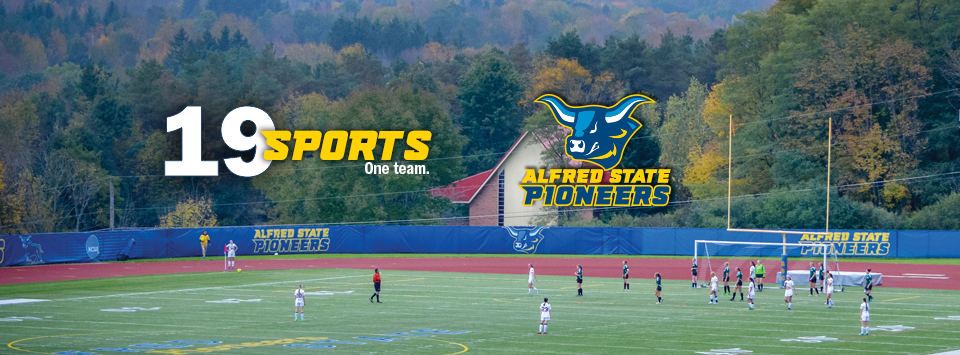 Alfred State Pioneers.  image of ox head mascot. 19 sports. One Team. Photo of men's cross country race.