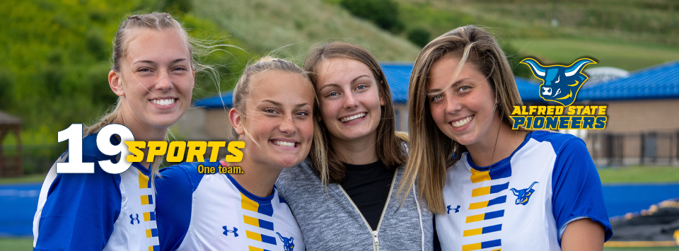 Alfred State Pioneers.  image of ox head mascot. 19 sports. One Team. Photo of woman's soccer players with smiles wearing new UnderArmor jerseys with ox on it