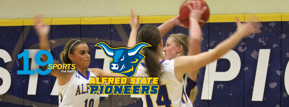 Alfred State Pioneers.  image of ox head mascot. 19 sports. One Team. Photo of women's basketball players.