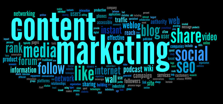 word cloud with words content, marketing, media, follow, like, share, social, seo