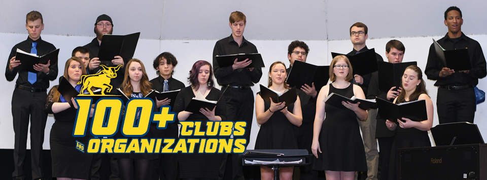 100+ Clubs and Organizations. Image of chorus performance.