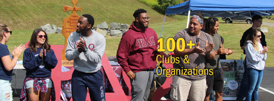 100+ Clubs and Organizations. Image of Greeks wearing letters clapping and smiling.