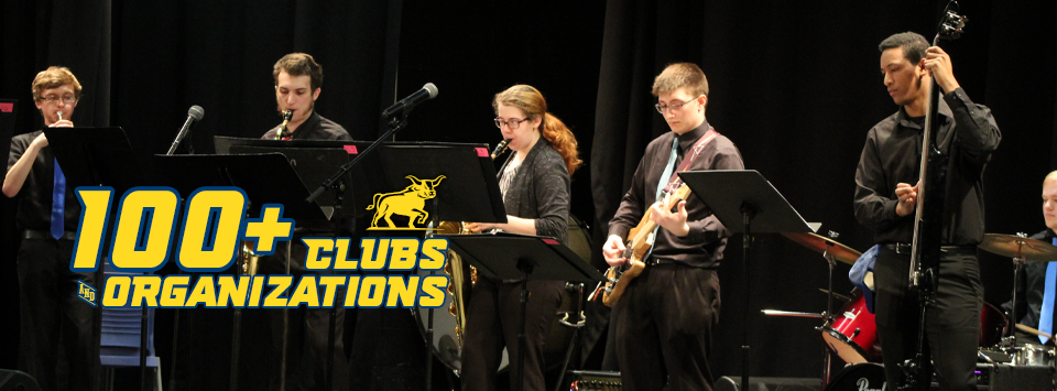 100+ Clubs and Organizations. Image of jazz band playing instruments on stage.
