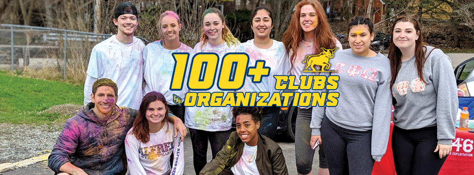 100+ Clubs and Organizations. Image of students after a color fun run with colored powder on them.