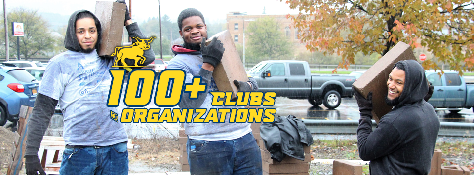 100+ Clubs and Organizations. Image of students moving bricks during a service event.