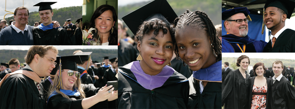 collage of many students smiling on commencement day, outside, wearing their cap and gown