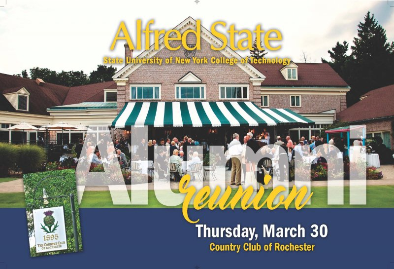 Country Club of Rochester Invitation, Alfred State alumni reunion, Thursday, March 30