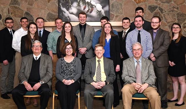 members of the Alfred State chapter of the Sigma Lambda Chi honor society