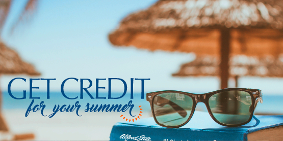 Get credit for your summer, image of sunglasses on top of a book that says Alfred State on the cover, on the beach with umbrella