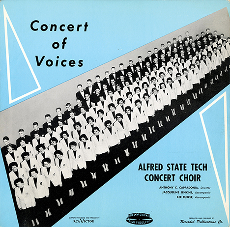 Pictured is the cover of an album produced in the 1950s by the Alfred State Concert Choir.