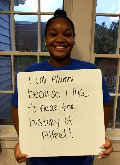Aneka Lewin - I call alumni because I like to hear the history of Alfred!