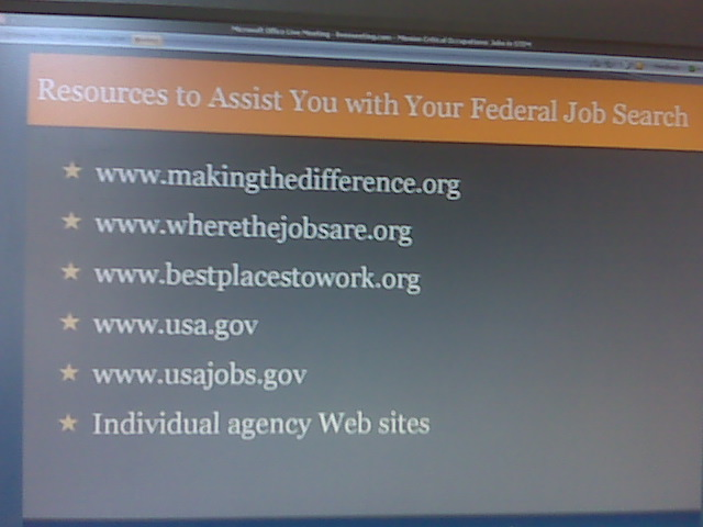 picture of a Powerpoint presentation slide listing the resources to Assist with your Federal Government Job Search, which are listed and hyperlinked on this web page