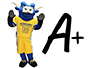 Big blue the ox mascot and an A+