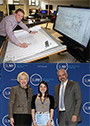 top picture: man poses while looking at blue prints. Bottom picture: Mary poses with SUNY Chancellor and Alfred State Vice President