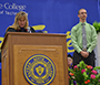 Provost Dr. Kristin Poppo and Brandon Bryniarski on stage