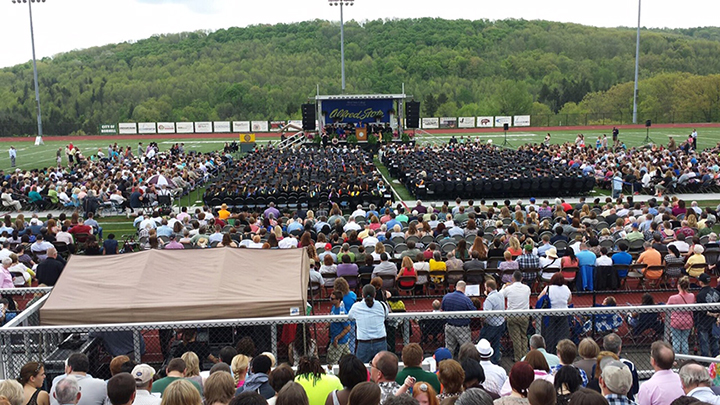 crowd at commencement ceremonies on Sunday, May 14